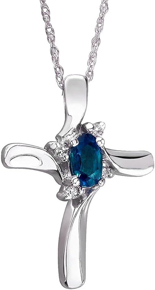 Sapphire and Diamond Cross Pendant 10k White Gold