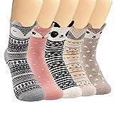 SUNWIND 5 Pares de Calcetines Femeninos de Dibujos Animados, Calcetines de Algodón Cálidos y Bonitos EU35-40 (Oreja animal 3D)