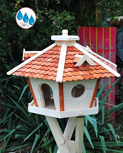 Futterhaus,Vogelhäuser wetterfest, mit Ständer / mit Standfuß und Silo,Futtersilo für Winterfütterung, Futterstation aus Holz SR45heMS mit Schindeldach hellbraun braun mit Ständer - 2