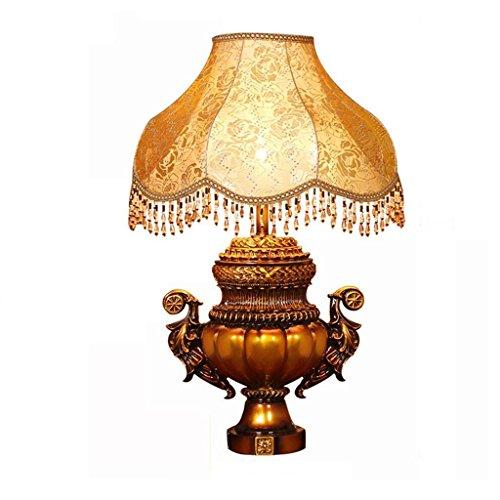 Lampe de chevet lampe de la villa lampe de table E27 source de lumière résine rétro lampe décorative tissu (sans source de lumière E27) (taille : Variateur d'ambiance)