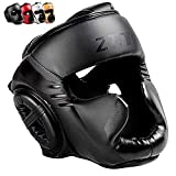 ZHENGTU Boxing Headgear MMA Kickboxing Head Guard Martial Arts PU Leather (Black, M)