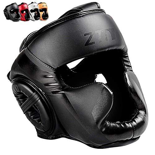 ZHENGTU Boxing Headgear MMA Kickboxing Head Guard Martial Arts PU Leather (Black, L)