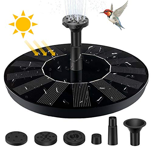 Solar Fountain Pump for Bird Bath, Upgrade 1.4W Solar Powered Water Fountain Pump with 4 Nozzle, Free Standing Floating Solar Bird Bath Fountain Pump for Pool, Pond, Garden and Outdoor (No Battery)