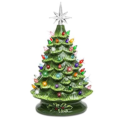 Best Choice Products SKY3037 15in Prelit Ceramic Tabletop Christmas Tree with Multicolored Lights-Green