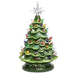 Beautiful WHITE Gloss Glazed Ceramic Christmas Tree with TWIST Lights and Star