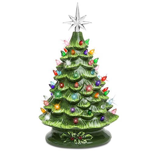 Best Choice Products 15in Pre-lit Hand-Painted Ceramic Tabletop Christmas Tree Holiday Decoration w/ 64 Multicolored Lights - Green