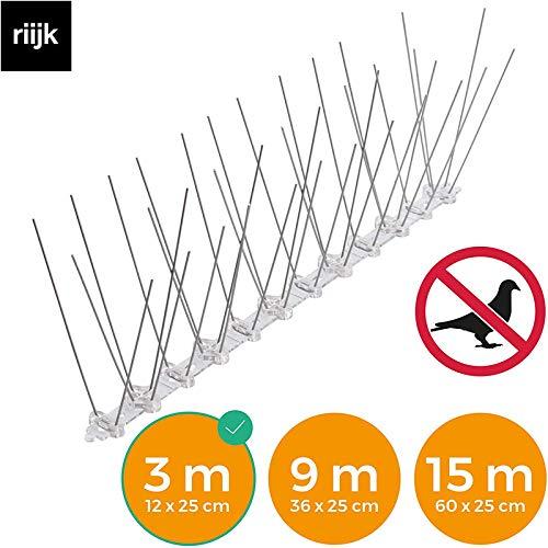 riijk 3 Meter Taubenabwehr Spikes vormontiert | Rostfreie Taubenschreck Vogelspikes | Vogelabwehr Spikes und Vogelschutz | Tierschutzkonformer Taubenschutz