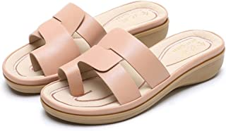 Summer Slippers Slides Pu Leather Slippers Summer Wedges Lightweight Beach Pool Indoor Outdoor (Color : Apricot, Size : 41)