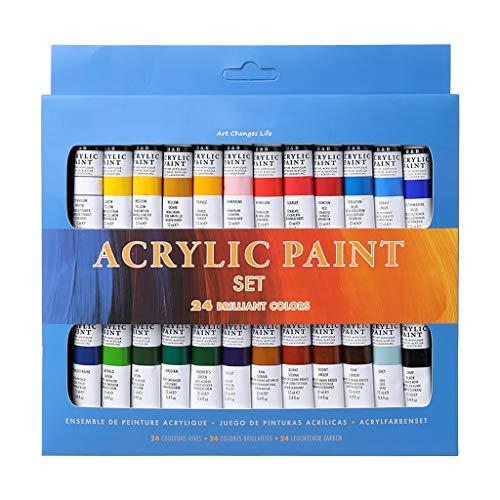 S-Trouble - Juego de 24 pinturas acrílicas de 12 ml para dibujar pintura pigmento pintado a mano para manualidades