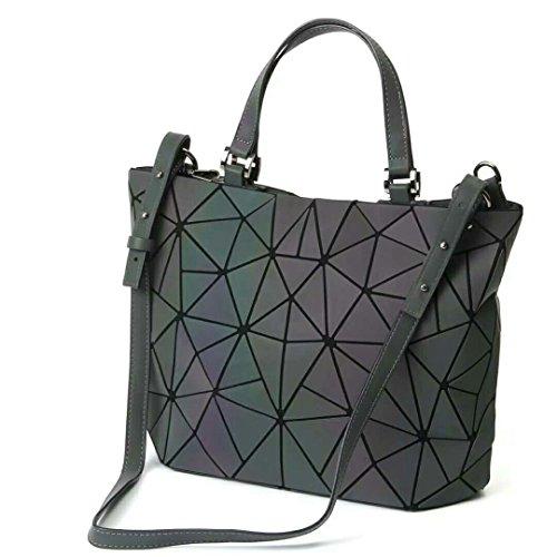 Qingmei Bolsos geométricos luminosos de mujer Cuero de PU Shard Lattice Bolso holográfico ecológico para mujer bolso (3136M)