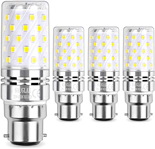 Sauglae LED Ampoule à Maïs 12W, 100W Équivalent Ampoules à Incandescence, B22 Casquette Baïonnette, 4000K Blanc Neutre, 1200LM, Pack of 4