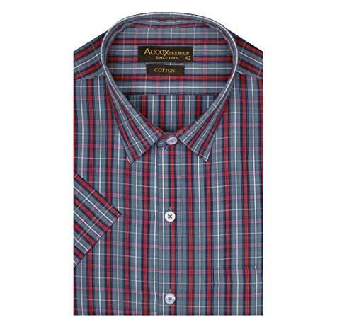 ACCOX Men's Half Sleeves Regular Fit Cotton Formal Checkred Shirts(GCR09)
