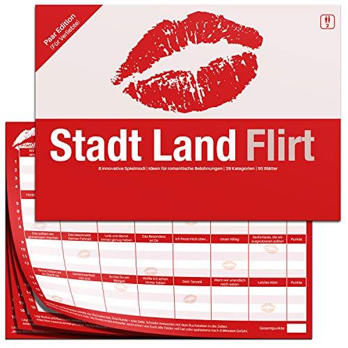 Stadt Land Flirt - Fragespiel für Paare - Partner Stadt Land Fluss Spiel Lose für Paare als Gewinn für Erwachsene