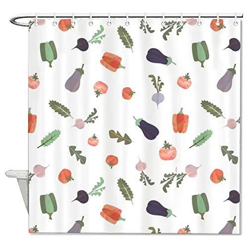 LLIGHT Duschvorhang mit süßem Gemüse, wasserdicht, 183 x 183 cm
