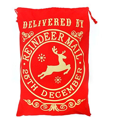 TRIXES Grande Sacco Postale Rosso con la Renna di Babbo Natale.