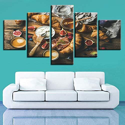 MMLFY 5 afbeeldingen op canvas stilleven kunst modulaire canvas afbeelding 5 stuks levensmiddelen honing en brood schilderij decoratie woonkamer muur moderne prints No Frame 30 x 40 30 x 60 30 x 80 cm.