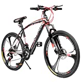 Max4out Mountain Bike 21 Speed with High Carbon Steel Frame, 26 inch Wheels, Double Disc Brake, Front Suspension Anti-Slip Bikes, Red