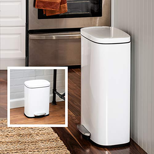 Honey-Can-Do TRS-07637 30L & 5L Rectangular Soft-Close Trash Can Combo, White