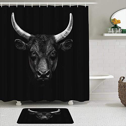 YOLIKA 2-teiliges Duschvorhangset mit Rutschfester Badematte,Bull Natur Nutztier Schwarz Camargue Bull Face Wild Beast Horn,12 Haken,Personalisierte Badezimmerdekoration