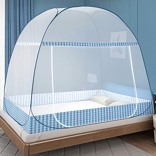 Moskitonetz Bett Pop Up, Faltbares Bett-Moskitonetz, Tragbares Reise-moskitonetz, Moskito-Campingzelt für Schlafzimmer Outdoor Camping, Einfache Installation, Feinmaschig(200x150x150 cm, Blau)