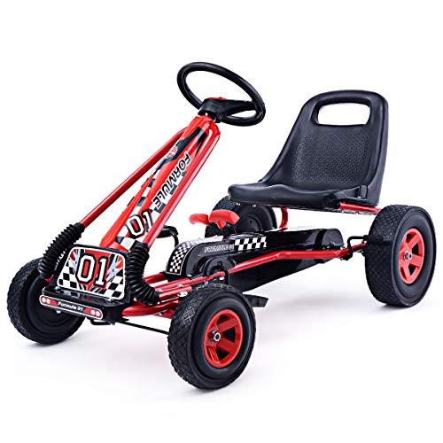 DREAMADE Kinder Go Kart Tretfahrzeug, Tretauto mit Bremsen, Kinderfahrzeug Pedalfahrzeug mit Verstellbarem Sitz (Rot)