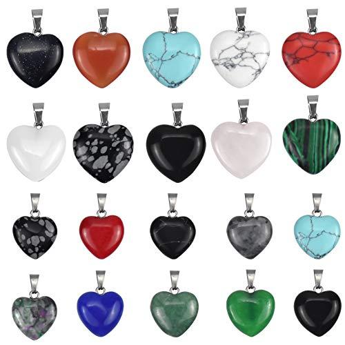 Jinlaili Heart Pendant Charms, 20 Pcs Heart Shaped Stone Pendants, Chakra Crystal Beads, DIY Heart Pendant Bulk for Necklace, Keychain, Women Jewellery Making, 2 Sizes, Assorted Color