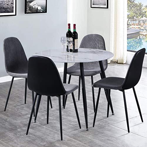 GOLDFAN Esstisch und 4 Stühle Modernes Design Runder Glas Esstisch Stoff Küchenstühle für Esszimmer Wohnzimmer Büro (Grau, Stoff & PU)