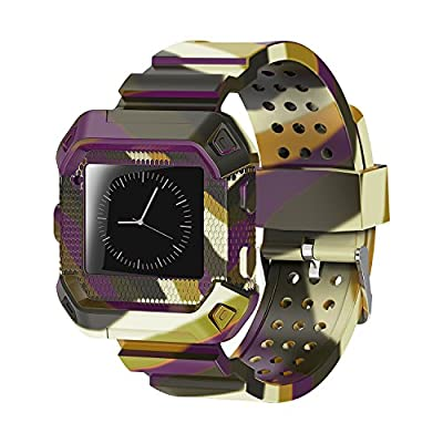 WISHTA Compatible with Fitbit Blaze Band, [Rugged Pro] Resilient Protective Case with Strap Bands Compatible with Fitbit Blaze Smart Watch Fitness