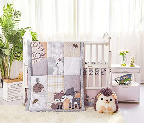 La Premura Woodland Forest Baby Nursery Crib Bedding Set – Fox, Deer, Hoglet & Bunnies 3 Piece Standard Size Crib Set, Gray/Hazel