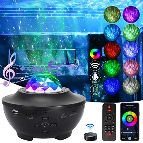 SHAWLAM LED Projektor Sternenhimmel, Galaxy Light Projector mit Rotierende Wasserwellen, Farbwechsel Musikspieler & Bluetooth &Timer, sternenhimmel Lampe mit Geschenke für Kinder Erwachsene