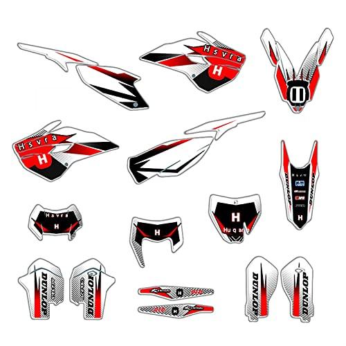 Kit de calcomanías de Etiqueta Motocicleta para Husqvarna 125 250 300 350 450 501 TE FE 2014-2016 TC FC 2014-2015 (Color : Blank)