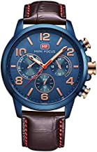 Mini Focus Casual Watch for Men, Analog, Leather Strap, Brown, MF0001G-04