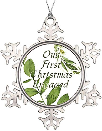 JamirtyRoy1 3' Snowflake Ornament, Christmas Ornament, Xmas Ornaments Metal Snowflakes Green Leaf Our First Christmas Engaged 2017 Custom Ornament Keepsake Gift, Christmas Decor