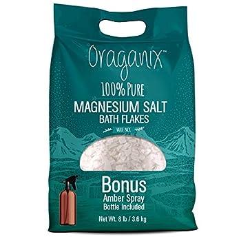 Oraganix Magnesium Salt Bath Flakes 100% Pure Magnesium Chloride  8 lbs  - Better Absorption Than Epsom Salt Plus 8oz Amber Plastic Spray Bottle