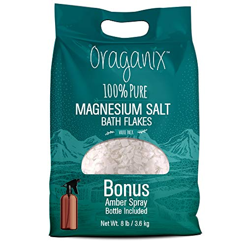 Oraganix Magnesium Salt Bath Flakes. 100% Pure Magnesium Chloride (8 lbs) - Better Absorption Than Epsom Salt Plus 8oz Amber Plastic Spray Bottle