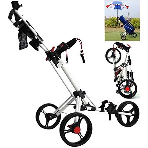 HYQW Upgrade Carrello da Golf a 3 Ruote, Carrello da Golf Push/Pull Manuale Regolabile con Portaombrelli, Segnapunti E Portabevande, Carrello da Golf Pieghevole in Alluminio,Silver