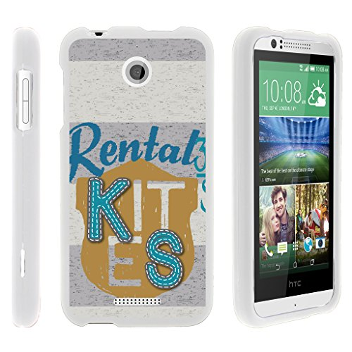 Compatible with HTC Desire 510 Case Rubberized Snap On Shell Full Cover Case Slim Fitted White Cover from TurtleArmor - Rental Tag