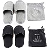 2 Pairs Portable Travel Slippers Open Toe Sandals Spa Hotel Slippers Guest Room Indoor House Slipper Business Trip Flight Slippers Shoes Footwear (As photo)
