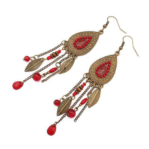 LUFA Mujeres Ovaladas de las hojas de las muchachas Gancho de la aleación Clavos de oído Borlas Pendientes largos Rojo