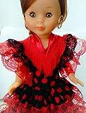Folk Artesanía Flamenco Kleid mit andalusischem Schwanz und Accessoires für die Nancy Famosa Puppe...