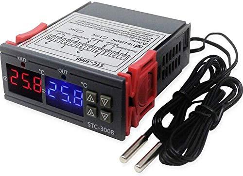Aufwertung Universell Einsetzbar Digital Temperatur Fernbedienung Fahrenheit und Grad Celsius Thermostat mit Sensor Relais Ntc für Kühlschrank Gärbehälter Lampe Ventilator - DC12V/DC24V/AC110V-220V