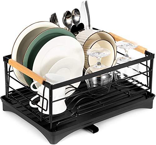 Alfaview Escurreplatos de metal negro mate (42 x 30 x 19,5 cm) para fregadero con soporte para cubiertos y bandeja de goteo de plástico para fregadero, platos, cubiertos, etc.