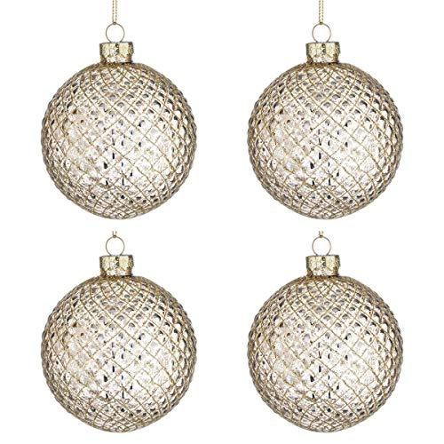 BIZZOTTO Palle di Natale in Vetro Losanga Champagne, Set 4 Pz Palline  80 mm, Addobbi Natalizi Ornamento per Albero