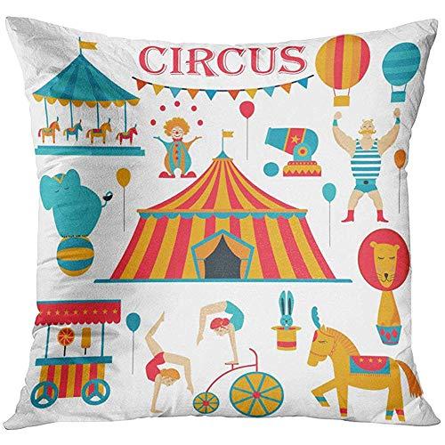Kussensloop Tent Circus Collectie met Carnaval Fun Fair Iconen en Gekleurde Acrobat Carousel decoratieve kussensloop Home Decor Square 18x18 inch kussensloop