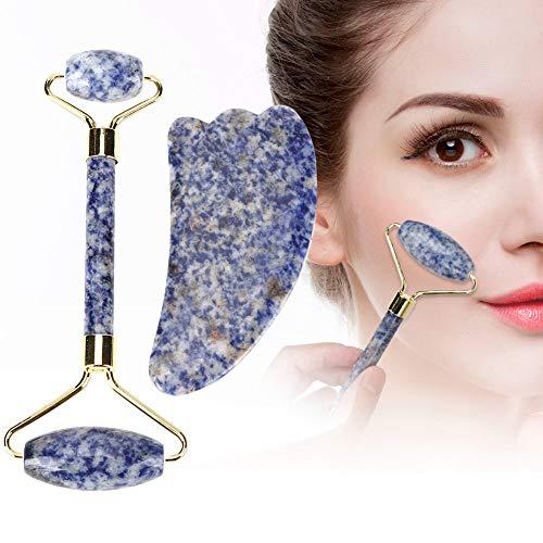 Jade Stone Roller, gezichtsmassagetool Guasha Board Set voor huidverzorging, vervaagt gezichtsrimpels en herstelt de huidelasticiteit