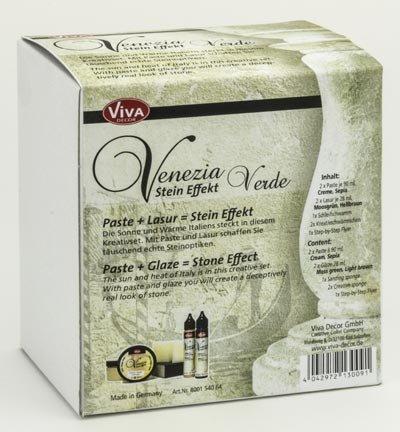 Venezia Stein Effekt Set (1 x Verde) - Für wunderschöne Steinoptik inkl. Lasur für Schattierungen & Effekte