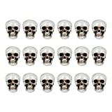 NUOBESTY 18PCS Mini Plastic Skull Heads Terrifying Skeleton Ornament Halloween Prank Props Party Decoration Party Favors Toys DIY Gift Accessary