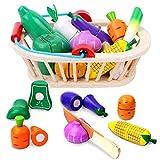 Lekebaby Kinderküche Zubehör Holz Spiellebensmittel Spielzeug, 12 Stück Holz Gemüse zum Schneiden, Pädagogisches Spielzeug Geschenk für Jungen/Mädchen/Vorschüler