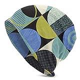 Patrón geométrico Moderno Retro Bauhaus Diseño de círculos Squares Knit Beanie Gorro de Invierno Cálido, elástico y Suave Beanie Sombreros para Hombres y Mujeres, Comodidad Durante Todo el año