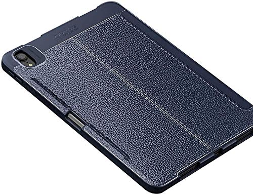 Funda para iPad Pro 11 2020 con Portalápices, Funda Inteligente De Cuero con Diseño De Lichee, Parte Trasera De TPU Suave, Reposo/Activación Automático,Blue